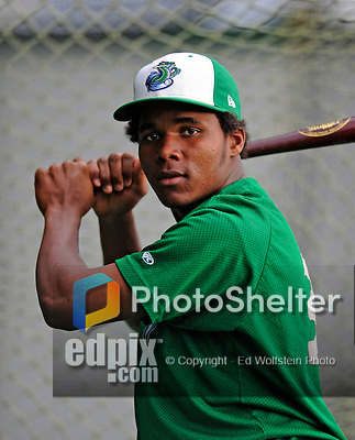 25 August 2008: Vermont Lake Monsters' infielder Yeurys Tejeda works in the batting cage prior to facing the Hudson Valley Renegades at historic Centennial Field in Burlington, Vermont. The Lake Monsters defeated the Renegades 8-5 in the second game of their three-game series in Vermont...Mandatory Credit: Ed Wolfstein Photo