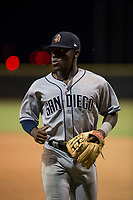 AZL Padres 1 second baseman Lee Solomon (28) jogs off the field between innings of an Arizona League game against the AZL Padres 2 at Peoria Sports Complex on July 14, 2018 in Peoria, Arizona. The AZL Padres 1 defeated the AZL Padres 2 4-0. (Zachary Lucy/Four Seam Images)