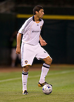 18 April 2009: Omar Gonzales of the Galaxy in action during the game against the Earthquakes at Oakland-Alameda County Coliseum in Oakland, California.   Earthquakes and Galaxy are tied 1-1.
