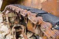Rusting American WW2 Sherman tank in French alps