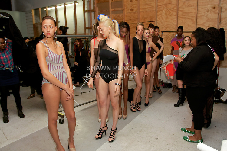 Models line up backstage, moments before the Mirame Spring Summer 2012 fashion show by Melinda Huff, during BK Fashion Weekend Spring Summer 2012.