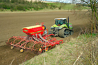 Operator Neil Smith drilling Cellar spring barley on D. C. Medforth's Raisthorpe Manor, Wharran, Malton, North Yorkshire. This 16 acres is part of the 3,000 acres of cereals grown and will be sold to Fronteir Grain Merchants of Driffield and is intended for malting. The poor weather has delayed drilling by 4 weeks.