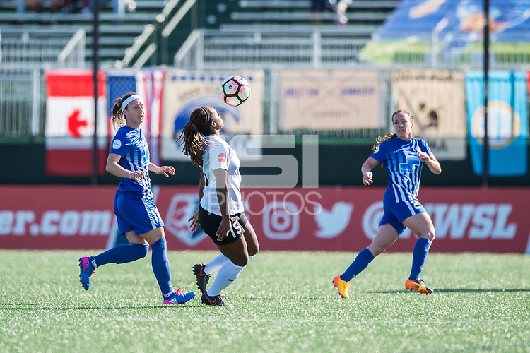 Boston, MA - Sunday April 23, 2017: Tiffany Weimer, Kayla Mills, Allysha Chapman during a regular season National Women's Soccer League (NWSL) match between the Boston Breakers and Sky Blue FC at Jordan Field.