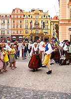 Polka dancing in traditional attire, Old Town, Prague, Czech Republic