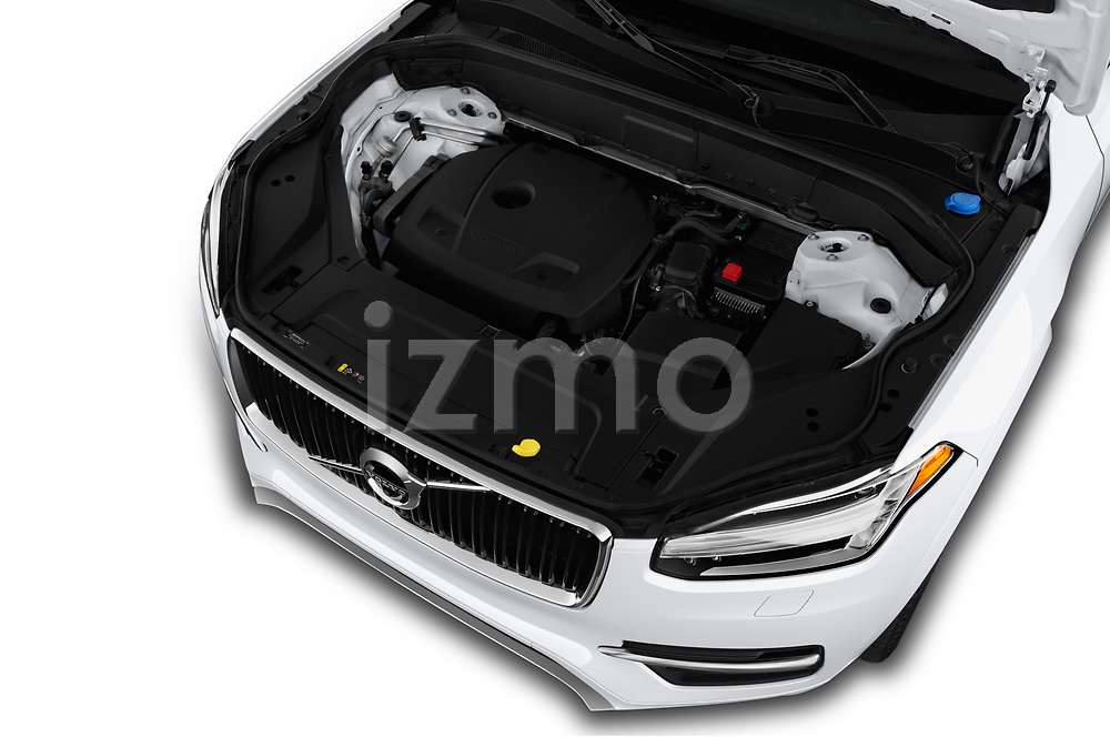 Car stock 2019 Volvo XC90 T5 Momentum AWD 5 Door SUV engine high angle detail view