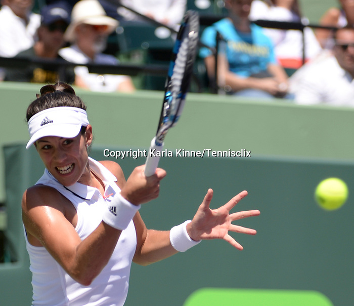 March 27 2017: Garbine Muguruza (ESP) loses to Caroline Wozniacki (DEN) 7-6, 0-0 retired, at the Miami Open being played at Crandon Park Tennis Center in Miami, Key Biscayne, Florida. ©Karla Kinne/Tennisclix/Cal Sports Media