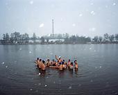 Krzywin 01.01.2016 Poland <br /> New Years Day. <br /> Each Sunday in winter time, several residents of Krzywin and surrounding area meet to swim in the nearby lake.  <br /> Photo: Michal Adamski / Napo Mentor<br /> <br /> W kazda niedziele, w czasie zimy, kilkunastu mieszkancow Krzywinia i okolicznych miescowosci spotyka sie by plywac w zimnym jeziorze.<br /> Photo: Michal Adamski / Napo Mentor