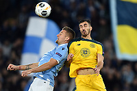 7th November 2019, Rome, Italy; UEFA Europa League football , group stages, Lazio versus Glasgow Celtic;  Sergej Milinkovic-Savic of SS Lazio challenges for the header with Hatem Elhamed of Celtic  - Editorial Use