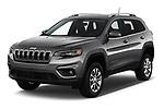 2019 Jeep Cherokee Latitude Plus 4X4 5 Door SUV angular front stock photos of front three quarter view