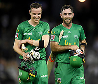 10th January 2020; Marvel Stadium, Melbourne, Victoria, Australia; Big Bash League Cricket, Melbourne Renegades versus Melbourne Stars; Nick Larkin and Glenn Maxwell of the Stars celebrate their win - Editorial Use
