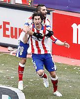 Atletico de Madrid's Tiago Mendes (f) and Arda Turan celebrate goal during La Liga match.February 7,2015. (ALTERPHOTOS/Acero) /NORTEphoto.com