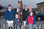 DAMP: Getting ready for the Kingdom Pony Hunt on a damp Sunday at Abbeydorney were Gearoid Moynihan (Killarney), Emmet O'Connor (Castlemaine), Claire Moynihan, Marian Somers and Paddy Hayes (Killarney)..