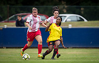 Otesha Charles of Watford Ladies & Chloe Gunn (left) of Stevenage Ladies during the pre season friendly match between Stevenage Ladies FC and Watford Ladies at The County Ground, Letchworth Garden City, England on 16 July 2017. Photo by Andy Rowland / PRiME Media Images.