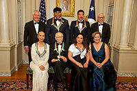 The five recipients of the 40th Annual Kennedy Center Honors pose for a group photo following a dinner hosted by United States Secretary of State Rex Tillerson in their honor at the US Department of State in Washington, D.C. on Saturday, December 2, 2017.  From left to right back row: US Secretary of State Rex Tillerson, LL Cool J, Lionel Richie, and David M. Rubenstein, Chairman, John F. Kennedy Center for the Performing Arts.  Front row, left to right: Carmen de Lavallade, Norman Lear, Gloria Estefan and Deborah F. Rutter, President of the John F. Kennedy Center for the Performing Arts.  The 2017 honorees are: American dancer and choreographer Carmen de Lavallade; Cuban American singer-songwriter and actress Gloria Estefan; American hip hop artist and entertainment icon LL COOL J; American television writer and producer Norman Lear; and American musician and record producer Lionel Richie.  <br /> Credit: Ron Sachs / Pool via CNP /MediaPunch