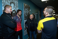 Lions coach Johan Ackerman (left) and captain Warren Whitelye (2nd left) chat with Hurricanes coach Chris Boyd and captain Dane Coles (right) before the captains' photo, with the Super Rugby Trophy on the evening before the final between the Hurricanes and Lions Super Rugby teams, at Westpac Stadium, Wellington, New Zealand on Friday, 5 August 2016. Photo: Dave Lintott / lintottphoto.co.nz