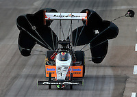 Feb 21, 2015; Chandler, AZ, USA; NHRA top fuel driver Clay Millican during qualifying for the Carquest Nationals at Wild Horse Pass Motorsports Park. Mandatory Credit: Mark J. Rebilas-