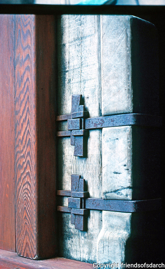 Greene & Greene: Gamble House. Detail of metal straps.  Photo '77.