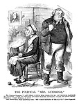 """The Political """"Mrs Gummidge."""" Mrs Gummidge-Gladstone. """"It ain't what I could wish myself to be. My trouble has made me contrairy. I feel my trouble, and they make me contrairy. I make the house uncomfortable. I don't wonder at it!!!"""" John Peggoty-Bull (deeply sympathising - aside). """"She's been thinking of the old 'un!"""" - David Copperfield."""