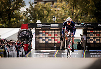 Hugo Page (FRA) off the start ramp<br /> at the Men Junior Individual Time Trial<br /> <br /> 2019 Road World Championships Yorkshire (GBR)<br /> <br /> ©kramon