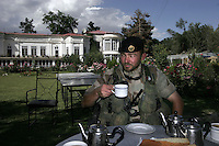 The commander of Norwegian ISAF troops in Assault Squadron 3, Jan Helge Dale, is offered tea as he inspects a guesthouse in central Kabul.  ISAF, the International Security Assistance Force, is a peacekeeping mission affiliated to the United Nations (UN) and NATO.