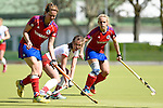 Mannheim, Germany, April 18: During the 1. Bundesliga Damen match between TSV Mannheim (white) and Mannheimer HC (red) on April 18, 2015 at TSV Mannheim in Mannheim, Germany. Final score 1-7 (1-4). (Photo by Dirk Markgraf / www.265-images.com) *** Local caption *** Charlotte van Bodegom #14 of Mannheimer HC, Antje Rink #19 of TSV Mannheim, Lydia Haase #12 of Mannheimer HC