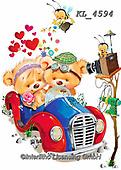 Interlitho-Fabrizio, Comics, CUTE ANIMALS, LUSTIGE TIERE, ANIMALITOS DIVERTIDOS, paintings+++++,2 bears, car,KL4594,#ac#, EVERYDAY ,sticker,stickers