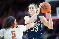 College Park, MD - DEC 29, 2016: Connecticut Huskies guard/forward Katie Lou Samuelson (33) in action against Maryland Terrapins guard Destiny Slocum (5) during game between No. 1 UConn and the No. 3 Terrapins at the XFINITY Center in College Park, MD. UConn defeated Maryland 87-81. (Photo by Phil Peters/Media Images International)