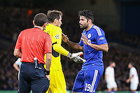 Iker Casillas FC Porto and Diego Costa of Chelsea (right) clash during the UEFA Champions League group match between Chelsea and FC Porto at Stamford Bridge, London, England on 9 December 2015. Photo by David Horn / PRiME