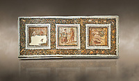 Picture of a Roman mosaics design depicting scenes from mythology, from the ancient Roman city of Thysdrus. End of 2nd century AD, House in Jiliani Guirat area. El Djem Archaeological Museum, El Djem, Tunisia. Against an art background<br /> <br /> This Roman mosaic depicts Aurore enticing Cephane, Apollo enticing Cyrene and Apollo persuing Daphne