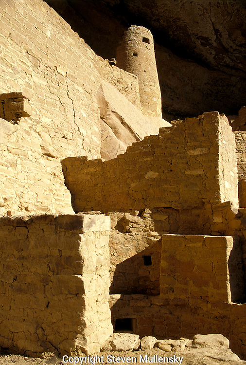 """The largest cliff dwelling in the United States the Cliff House is a major attraction of Mesa Verde National Park. Sandstone, mortar and wooden beams were the three primary construction materials. The Ancestral Puebloans shaped each sandstone block using harder stones collected from nearby river beds. The mortar between the blocks is a mixture of local soil, water and ash. Fitted in the mortar are tiny pieces of stone called """"chinking"""". Chinking stones fill in the gaps within the mortar and added structural stability to the walls. Over the surface of many walls, the people placed a thin coating of paint, called plaster, the first things to erode with time. (NPS)"""