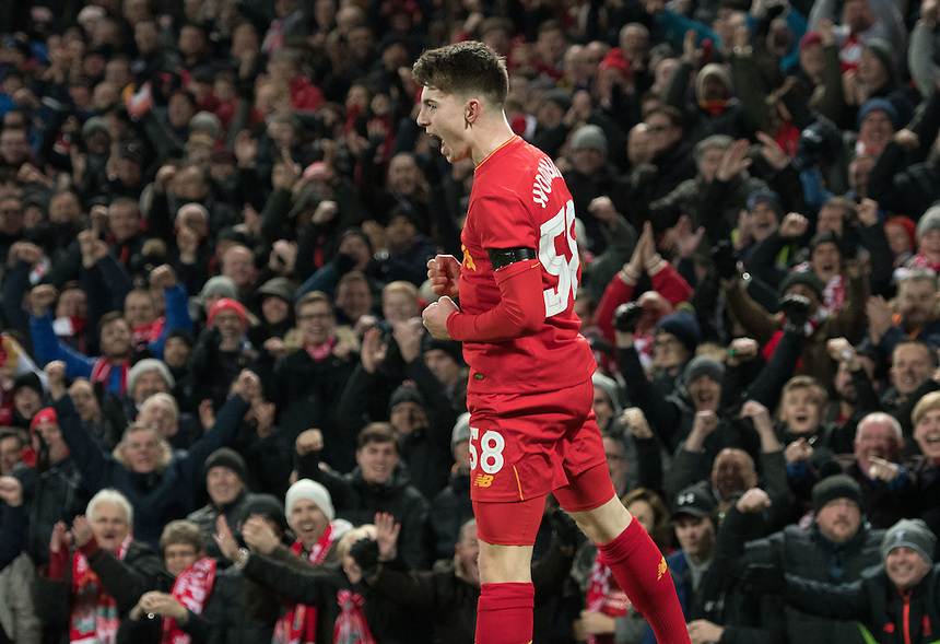 Liverpool's Ben Woodburn celebrates scoring Liverpools second goal<br /> <br /> Photographer Terry Donnelly/CameraSport<br /> <br /> The EFL Cup Quarter-Final  - Liverpool v Leeds  - Tuesday 29th November 2016 - Anfield - Liverpool<br />  <br /> World Copyright &copy; 2016 CameraSport. All rights reserved. 43 Linden Ave. Countesthorpe. Leicester. England. LE8 5PG - Tel: +44 (0) 116 277 4147 - admin@camerasport.com - www.camerasport.com