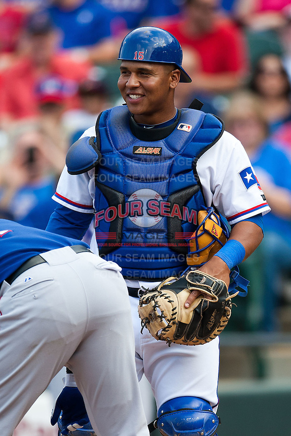 Round Rock Express catcher Luis Martinez #14 during the MLB exhibition baseball game against the Texas Rangers on April 2, 2012 at the Dell Diamond in Round Rock, Texas. The Rangers out-slugged the Express 10-8. (Andrew Woolley / Four Seam Images).