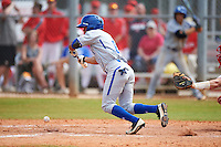 Seton Hall Pirates center fielder Derek Jenkins (6) lays down a bunt during a game against the Indiana Hoosiers on March 5, 2016 at North Charlotte Regional Park in Port Charlotte, Florida.  Seton Hall defeated Indiana 6-4.  (Mike Janes/Four Seam Images)