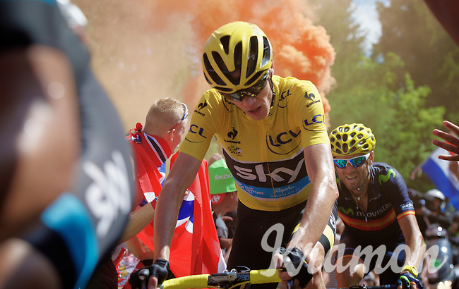 yellow jersey Chris Froome (GBR/SKY) experiencing the craziness at the Dutch Corner (nr7) up Alpe d'Huez<br /> <br /> stage 20: Modane Valfréjus - Alpe d'Huez (111km)<br /> 2015 Tour de France