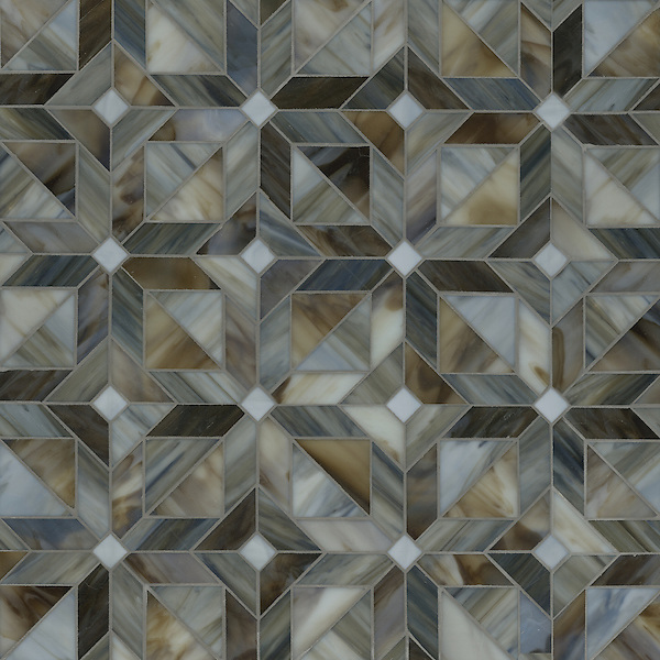 Rubrik, a waterjet jewel glass mosaic shown in Pearl, Schist, and Lavastone, is part of the Parquet Line by Sara Baldwin for New Ravenna Mosaics.