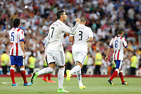 Cristiano Ronaldo and Pepe of Real Madrid during La Liga match between Real Madrid and Atletico de Madrid at Santiago Bernabeu stadium in Madrid, Spain. September 13, 2014. (ALTERPHOTOS/Caro Marin)