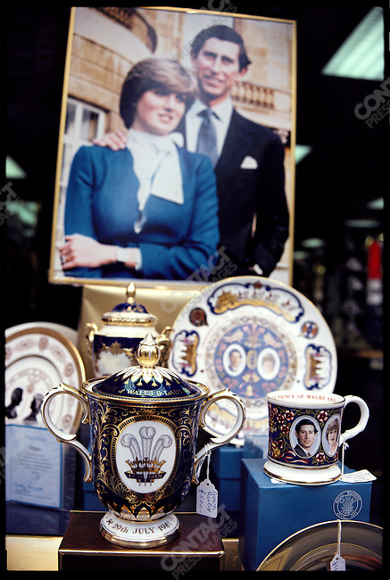 Memorabilia commemorating the wedding of Prince Charles to Lady Diana Spencer. London, England, July 1981.