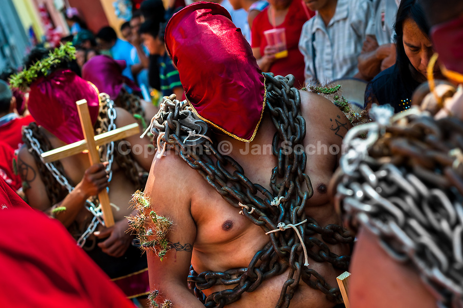 Hooded penitents, wearing heavy chains and cactus spines stuck to their bodies, take part in the Holy week procession in Atlixco, Mexico, 30 March 2018. Every year on Good Friday, dozens of anonymous men of all ages voluntarily undergo pain and suffering during the religious procession of the 'Engrillados' (the Shackled ones) in Puebla state, central Mexico. Wearing heavy chains on their shoulders covered with prickling cacti while being burned by the hot midday sun, they recall Jesus Christ's death by crucifixion and demonstrate their religiosity and faith.