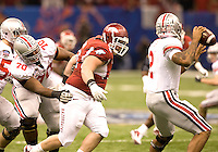 Zach Stadther of Arkansas in action against Ohio State during 77th Annual Allstate Sugar Bowl Classic at Louisiana Superdome in New Orleans, Louisiana on January 4th, 2011.  Ohio State defeated Arkansas, 31-26.