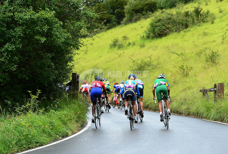 Jul 29, 2012; Dorking, United Kingdom; The peloton of riders race through Butterfly Bend on Box Hill during the women's cycling race. Mandatory Credit: Mark J. Rebilas-USA TODAY Sports