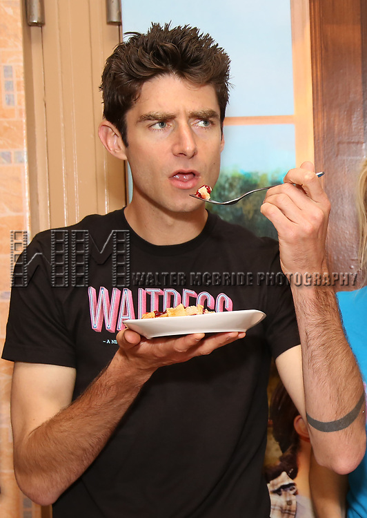 """Drew Gehling from the cast of """"Waitress"""" celebrate 'Sugar, Butter, Flour: The Waitress Pie Cookbook at The Brooks Atkinson Theatre on June 27, 2017 in New York City."""