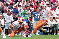 Michael Husted kicks a field goal, Detroit Lions at Tampa Bay Buccaneers NFL football game won by Tampa Bay 24-14 at Tampa Stadium, in Tampa , Florida on Sunday October 2, 1994 . (Photo by Brian Cleary/bcpix.com)