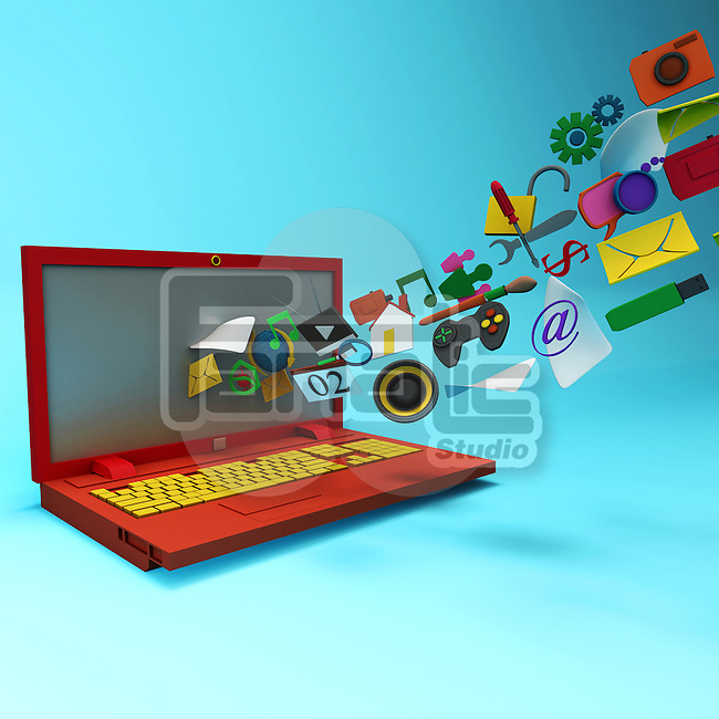 Illustrative image of computer icons releasing from laptop screen representing 3D technology
