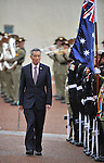 Singapore Prime Minister Lee Hsien Loong inspects the Federation Guard on the forecourt of Parliament House, Canberra, Thursday October 11th 2012. AFP PHOTO / Mark GRAHAM