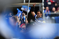 Robbie Fruean of Bath Rugby celebrates his second half try with supporters. Aviva Premiership match, between Bath Rugby and Gloucester Rugby on April 30, 2017 at the Recreation Ground in Bath, England. Photo by: Patrick Khachfe / Onside Images
