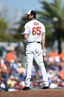 Baltimore Orioles pitcher Chaz Roe (65) during a Spring Training game against the Detroit Tigers on March 4, 2015 at Ed Smith Stadium in Sarasota, Florida.  Detroit defeated Baltimore 5-4.  (Mike Janes/Four Seam Images)