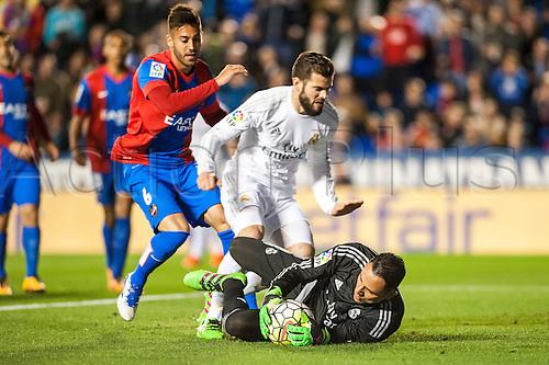 02.03.2016. Valencia, Spain. La Liga football. Levante versus Real Madrid.   Navas protects the save