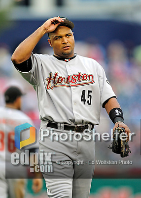 23 September 2010: Houston Astros first baseman Carlos Lee in action against the Washington Nationals at Nationals Park in Washington, DC. The Nationals defeated the Astros 7-2 for their third consecutive win, taking the series three games to one. Mandatory Credit: Ed Wolfstein Photo