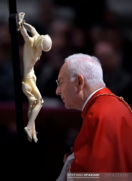 Cardinal Mauro Piacenza,Pope Francis the ceremony of the Good Friday Passion of the Lord Mass in Saint Peter's Basilica at the Vatican.March 30, 2018