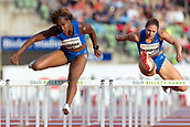June 15th 2017, Bislett Stadion , Oslo, Norway; Diamond League Oslo Bislett Games;  Tiffany Porter of Great Britain, Nadina Hildebrand of Germany competes in the ladies 100 hurdles during the IAAF Diamond League held at the Bislett Stadium